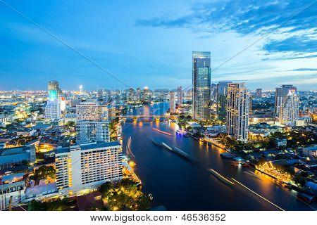 Aerial view of Bangkok Skyline along Chaophraya River sunset twilight