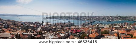 Panoramic View Of Istanbul And Bosphorus From Galata Tower