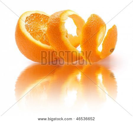 peeled orange and reflection