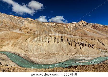 Himalayan landscape in Himalayas along Manali-Leh road. Himachal Pradesh, India