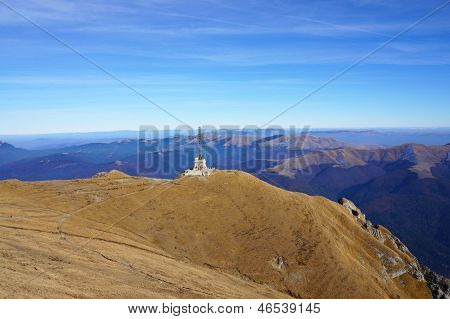 Bucegi Mountains With Heroes Steel Monument