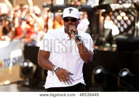 NEW YORK-MAY 31: Nathan Morris of Boyz II Men performs on NBC's 'Today' in Rockefeller Center on May 31, 2013 in New York City.