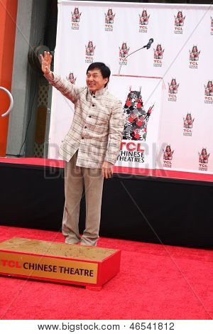 LOS ANGELES - JUN 6:  Jackie Chan at the Hand & Footprint ceremony for Jackie Chan at the TCL Chinese Theater on June 6, 2013 in Los Angeles, CA