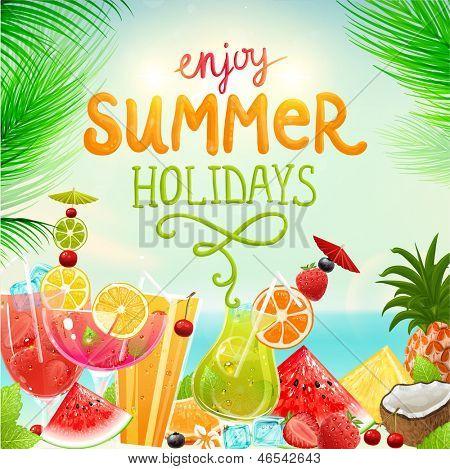 Постер, плакат: Летние каникулы векторные иллюстрации с коктейлями пальмы солнце небо море фрукты и ягоды Co, холст на подрамнике
