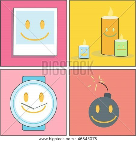 Collection Of Photo, Clock, Boom And Candles. Vector Design