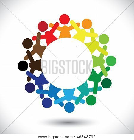 Concept Vector Graphic- Abstract Colorful Children Playing Icons(signs)