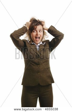 Frustrated And Stressed Business Woman - Isolated