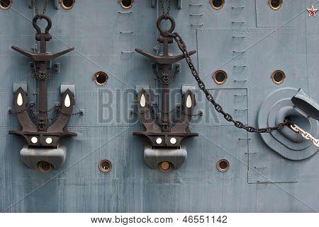 Anchors on the cruiser Aurora.