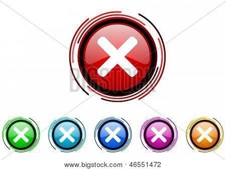 cancel circle web glossy icon colorful set