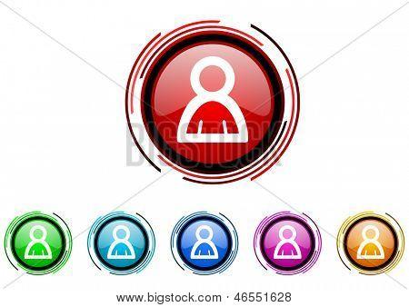 account circle web glossy icon colorful set