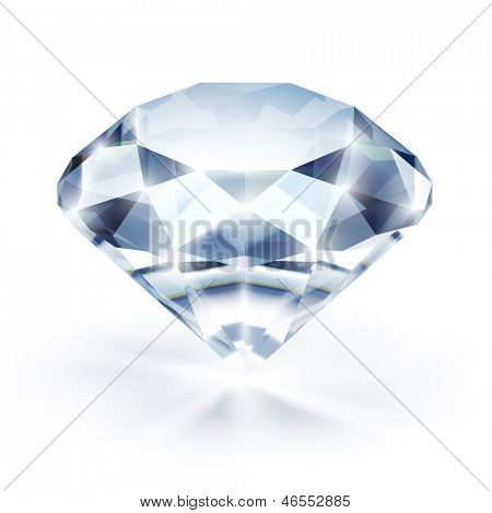 Diamond with reflection isolated on white - raster version