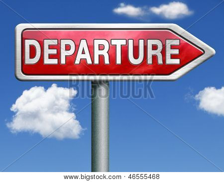 departure road sign arrow starting point of a journey depart departure icon departure button flight schedule arrow travel schedule red road sign arrow with text and word concept