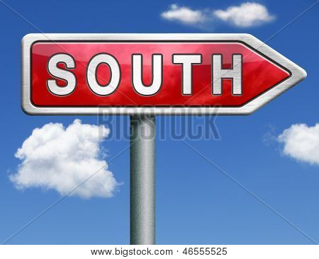 south geographical direction southern hemisphere red road sign arrow