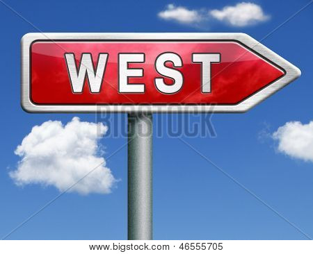 west geographical direction red road sign arrow