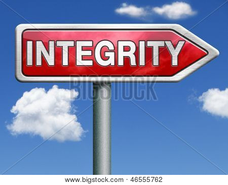 integrity authentic and honest and reliable guidance integrity button integrity icon trust red road sign arrow with text and word concept
