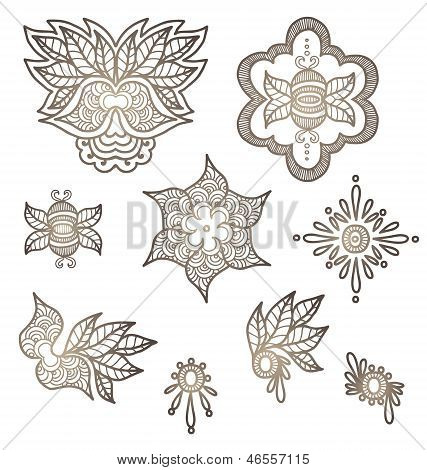Ornamental Indian Elements For Design