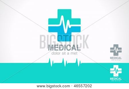 Medical pharmacy logo design template. Medic cross with cardiogram. Vector. Editable.