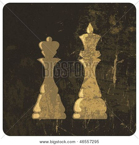 Grunge illustration of king and queen chess figures. Raster version, vector file available in my portfolio.