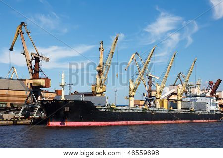Dry Cargo Ship In Port