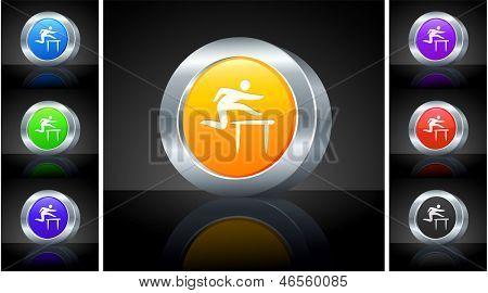 Hurdle Icon on 3D Button with Metallic Rim Original Illustration
