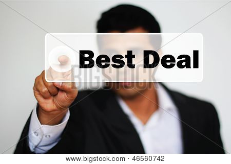 Male Professional Choosing By Clicking The Button Best Deal