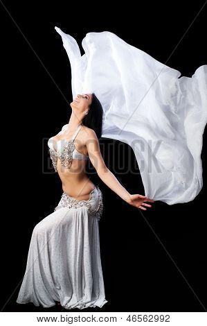 Bellydancer Dances With A Silver Silk Veil