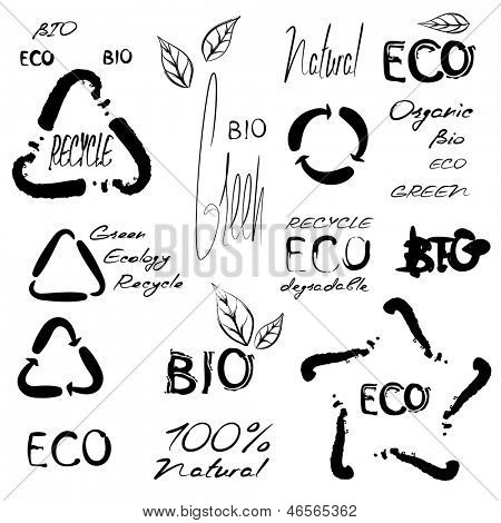 Eco bio green 100 % natural organic handwritten set of vector text and signs