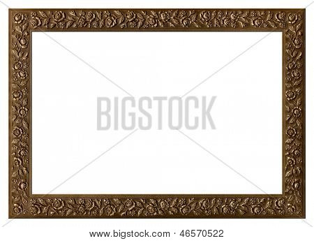 Decorative bronze frame with floral ornament isolated on white background.