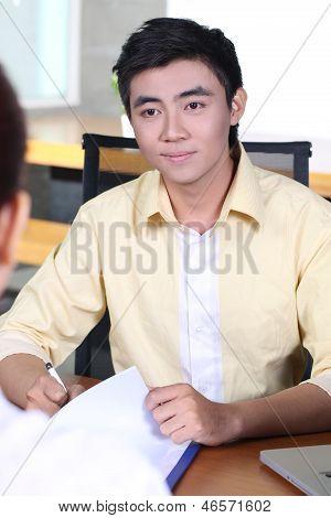 Job applicant having an interview - Asian handsome