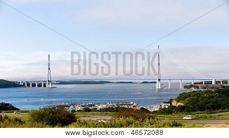 Longest Cable-stayed Bridge In The World In The Russian Vladivostok.
