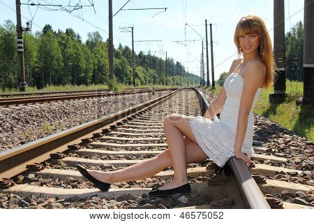 Young Woman On The Railway