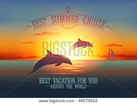 Melhor verão cruzeiro modelo de design com golfinhos por do sol. Eps10