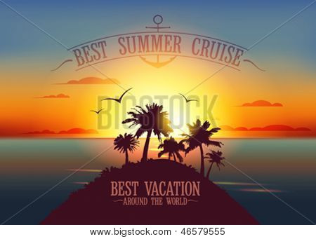 Best summer cruise design template with sunset tropical landscape. Eps10