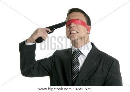 Bürokratie Augenbinde Geschäftsmann Pistole Selbstmord