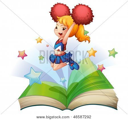 Illustration of an open book with an image of a dancing cheerleader on a white background