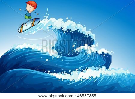 Illustration of a little boy surfing at the sea