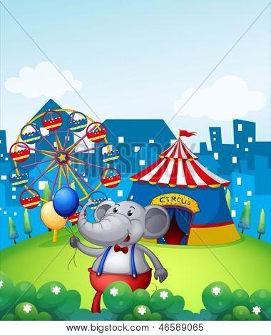 Abbildung eines Elefanten mit Ballons vor Karneval