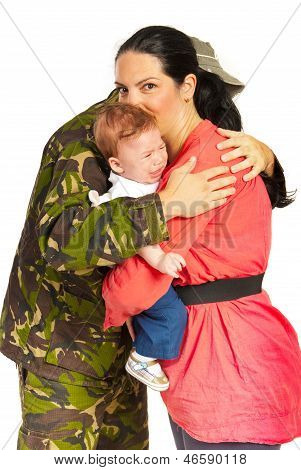 Soldier Man Embracing His Family