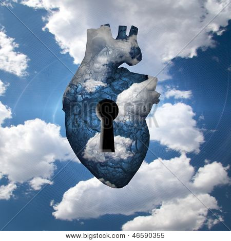 Heart with key in clouds