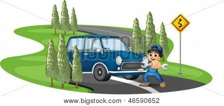 Illustration of a curve road with a boy and a car on a white background
