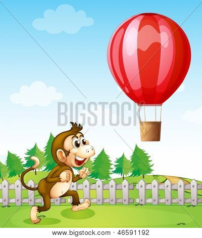 Illustration of a monkey running outside the fence with a hot air balloon