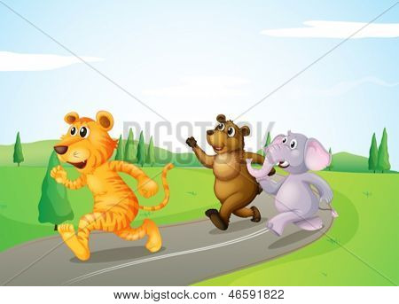 Illustration of a tiger, a bear and an elephant running along the road