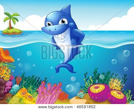 Illustration of a shark in the deep sea smiling