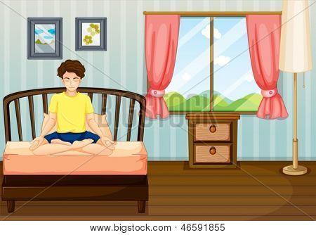 Abbildung eines Mannes ausführen Yoga in seinem Zimmer