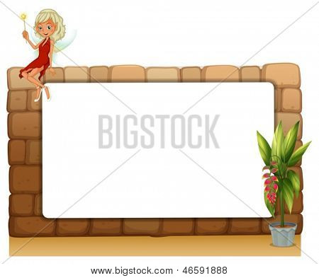 Illustration of a blankboard on a wall with a fairy and a pot of plants on a white background
