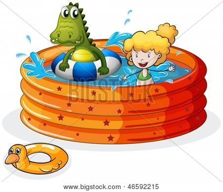 Illustration of a girl and a crocodile swimming inside the inflatable pool  on a white background