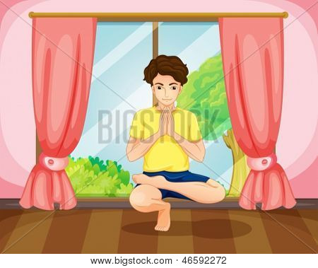 Illustration of a man performing yoga near the window