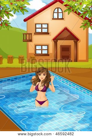 Illustration of a sexy girl at the swimming pool