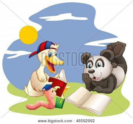 Illustration of a panda, a duck and a worm reading  on a white background