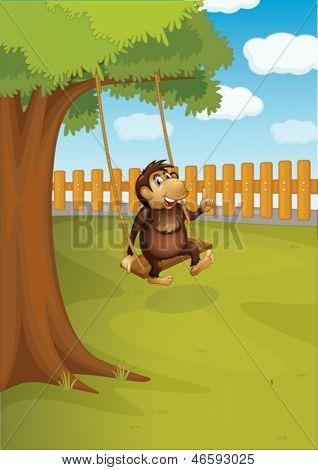 Illustration of a monkey swinging on a tree